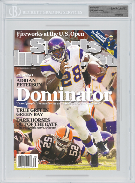 SPORTS ILLUSTRATED BGS Uncirculated ADRIAN PETERSON 9/21/09