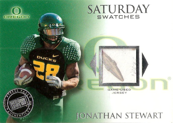 2008 Press Pass Legends Saturday Swatches Silver #SSWJS Jonathan Stewart