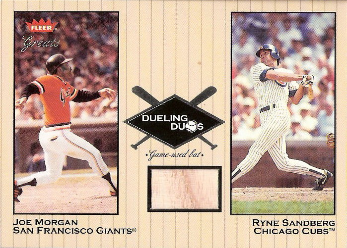 2002 Greats of the Game Dueling Duos Game Used Single #RS1 Joe Morgan/Ryne Sandberg Bat