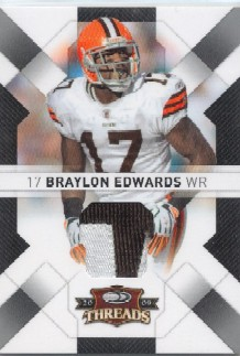 2009 Donruss Threads Jerseys Prime #24 Braylon Edwards/50