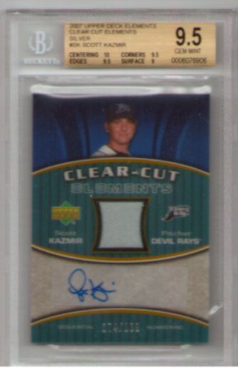 2007 Upper Deck Elements Clear Cut Elements Silver Autograph #SK Scott Kazmir BGS GEM MINT 9.5! BEAUTIFUL!! #074/199!