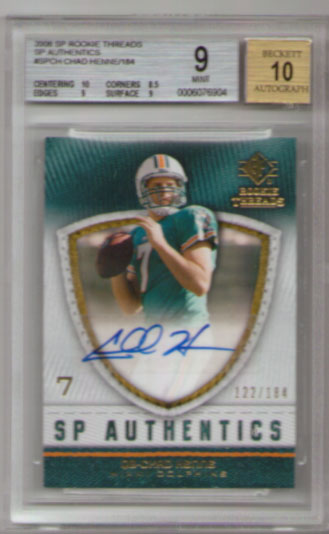 2008 SP Rookie Threads Authentics Autograph #SPCH Chad Henne #122/184! BGS Mint 9! BGS Pristine 10 Autograph!!
