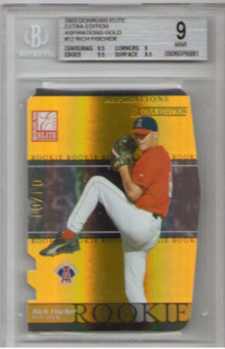 2003 Donruss Elite Extra Edition Aspirations Gold #12 Rich Fischer BGS Mint 9! ROOKIE 1/1!!