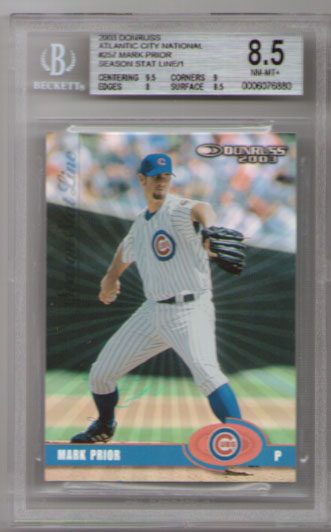 2003 Donruss Atlantic City National Season Stat Line #257 Mark Prior #1/1! BGS Nm-Mt+! RARE!!