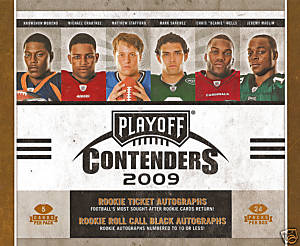 2009 Playoff Contenders Football Factory Sealed Hobby Box - 4 AUTOGRAPHS Per Box - Possible Brett Favre Adrian Peterson Mark Sanchez Dan Marino Jim Brown Emmitt Smith Joe Namath - In Stock Now    front image