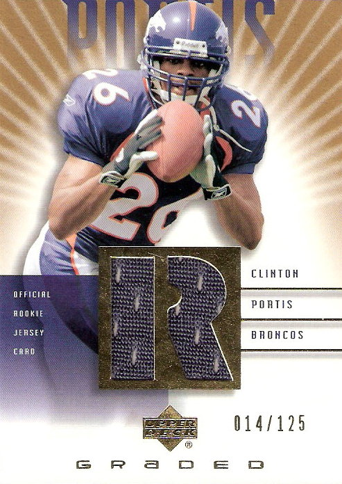 2002 UD Graded Rookie Jerseys Gold #CP500 Clinton Portis