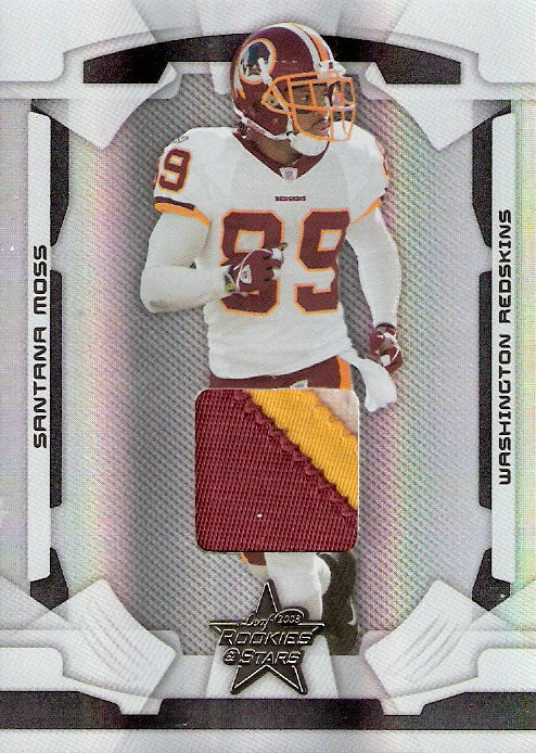 2008 Leaf Rookies and Stars Materials Black Prime #99 Santana Moss/25