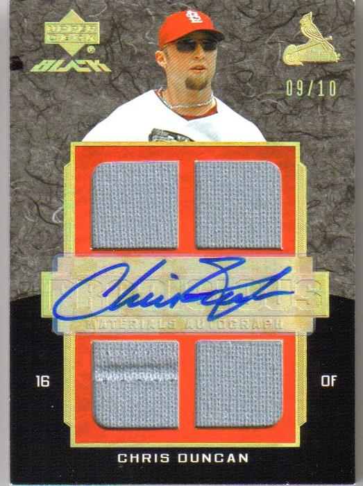2007 UD Black Prodigious Materials Autographs Gold Spectrum #CD Chris Duncan