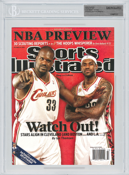 SPORTS ILLUSTRATED BGS Uncirculated SHAQ and LEBRON JAMES front image