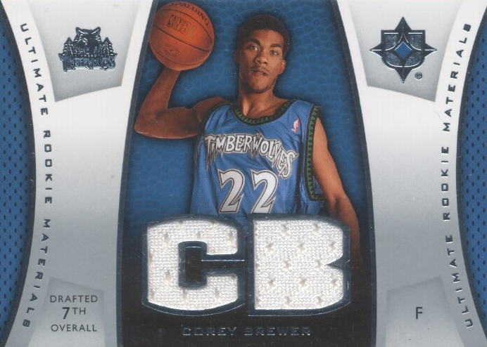 2007-08 Ultimate Collection Materials Rookies #CB Corey Brewer
