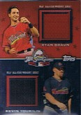 2009 Topps Update All-Star Stitches Dual #ASTD1 Ryan Braun/Kevin Youkilis