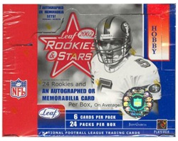 2002 Leaf Rookies and Stars NFL Football Sports Trading Cards Hobby Box