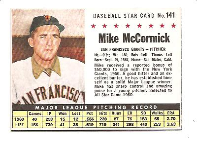 1961 Post #141B Mike McCormick BOX