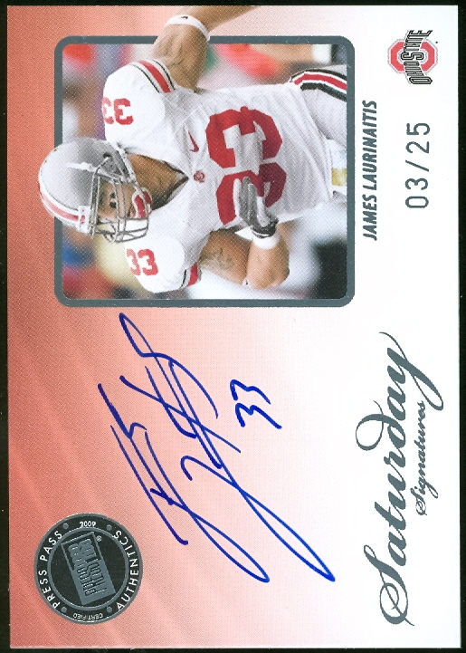 2009 Press Pass Legends Saturday Signatures Platinum #SSJL James Laurinaitis
