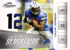2009 Playoff Prestige TD Sensations Materials Prime #15 Calvin Johnson/50