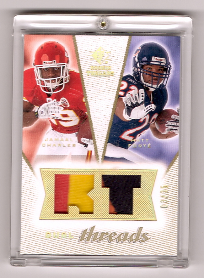 2008 SP Rookie Threads Dual Threads Patch 35 #DTFC Jamaal Charles/Matt Forte