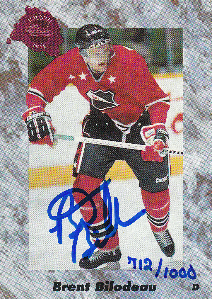 1991 Classic Four Sport Autographs #14A Brent Bilodeau/1000