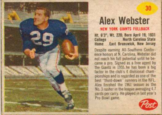 1962 Post Cereal #30 Alex Webster
