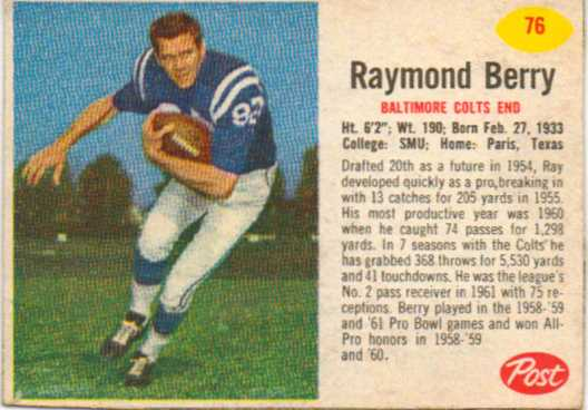 1962 Post Cereal #76 Raymond Berry