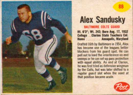 1962 Post Cereal #88 Alex Sandusky