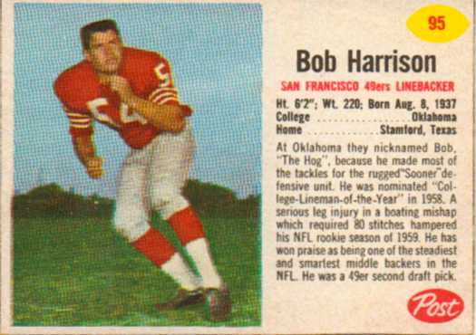 1962 Post Cereal #95 Bob Harrison