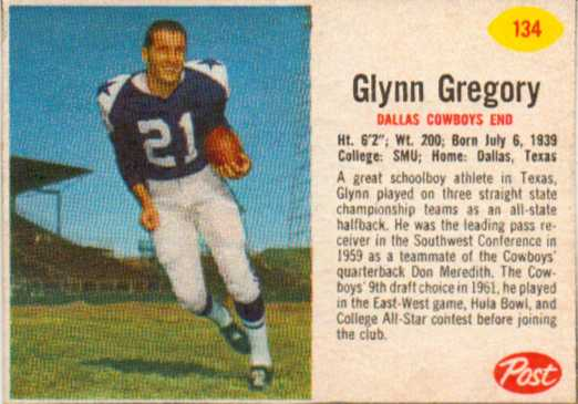 1962 Post Cereal #134 Glynn Gregory