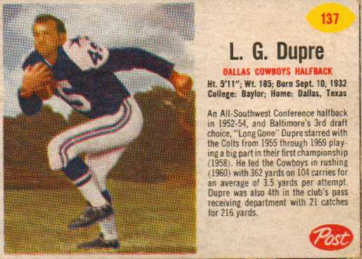 1962 Post Cereal #137 L.G. Dupre