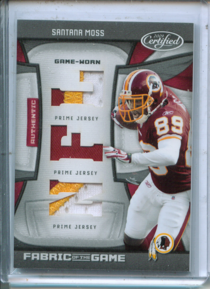 2009 Certified Fabric of the Game NFL Die Cut Prime #125 Santana Moss/25