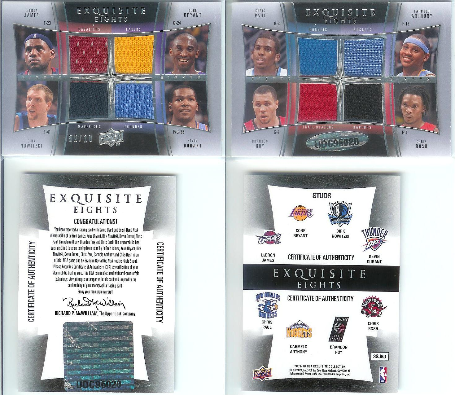 2009-10 Exquisite Collection Eights #STUDS Kevin Durant/Chris Paul/Brandon Roy/Dirk Nowitzki/LeBron James/Carmelo Anthony/Chris Bosh/Kobe Bryant