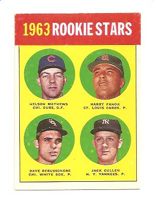 1963 Topps #54B Rookie Stars 1963/Nelson Mathews RC/Harry Fanok RC/Jack Cullen RC/Dave DeBusschere RC