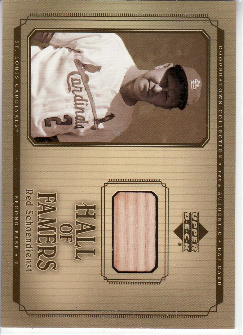 2001 Upper Deck Hall of Famers Game Bat #BRS Red Schoendienst