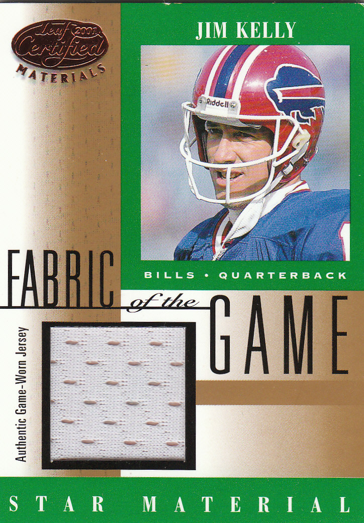 2001 Leaf Certified Materials Fabric of the Game #92BA Jim Kelly