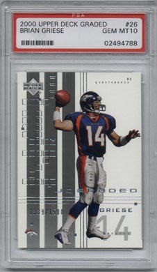 2000 Upper Deck Graded Football #26 Brian Griese PSA Gem Mint 10 Denver BRONCOS #1339/1500