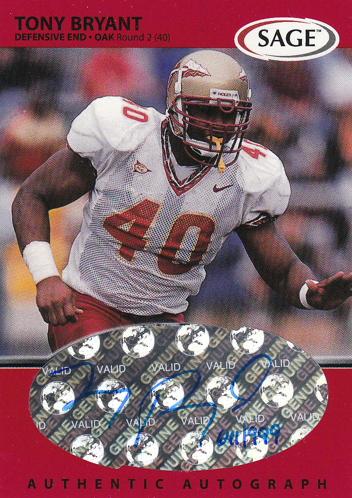 1999 SAGE Autographs Red #A8 Tony Bryant/999