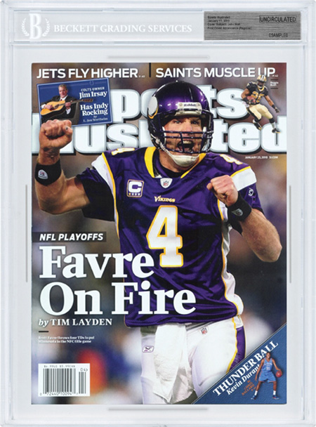 SPORTS ILLUSTRATED BGS SI Uncirculated BRETT FAVRE VIKINGS 1/25/2010