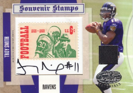 2007 Leaf Certified Materials Souvenir Stamps Material Autographs 1969 Stamp #18 Troy Smith
