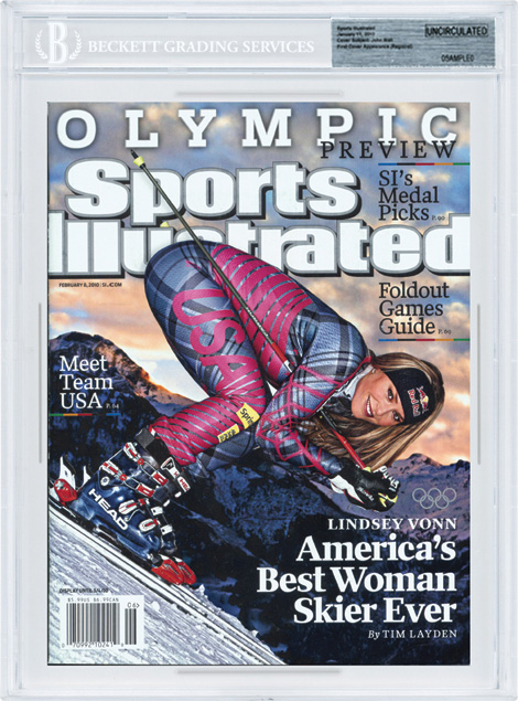 SPORTS ILLUSTRATED BGS Uncirculated LINDSEY VONN OLYMPICS 02/08/10 front image