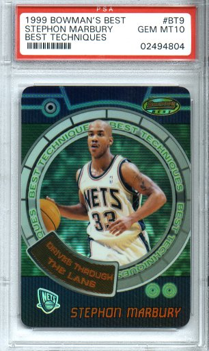 1999-2000 Bowman's Best Basketball #BT9 Stephon Marbury Best Techniques PSA Gem Mint 10