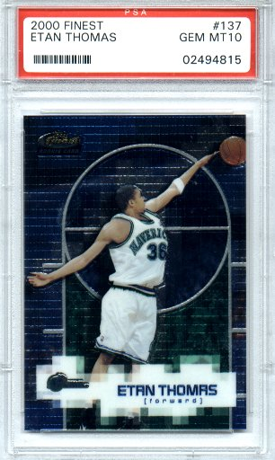 2000-2001 Topps Finest Basketball #137 Etan Thomas PSA Gem Mint 10 Rookie #0603/1599