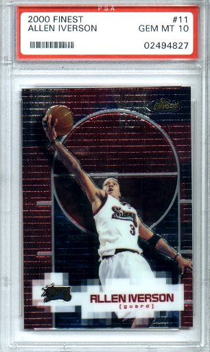 2000-2001 Topps Finest #11 Allen Iverson PSA Gem Mint 10 76ers Superstar