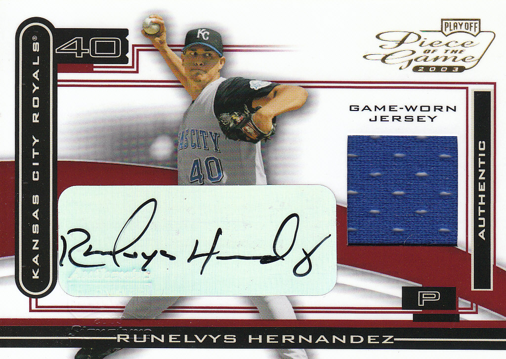 2003 Playoff Piece of the Game Autographs #98 Runelvys Hernandez Jsy