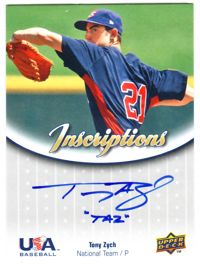 2009-10 USA Baseball National Team Inscriptions Autographs #TZ Tony Zych