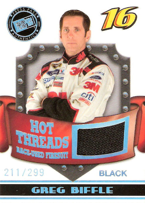 2009 Press Pass Premium Hot Threads #HT-GB Greg Biffle Black/299