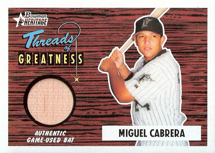 2004 Bowman Heritage Threads of Greatness #MC Miguel Cabrera Bat D
