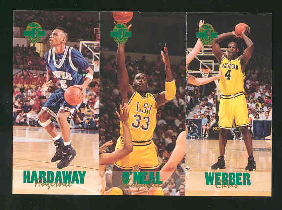 1993 Classic Four Sport Tri-Cards #TC1 Hard/6 Shaq/11 Webb