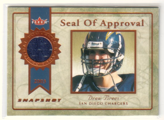 2003 Fleer Snapshot Seal of Approval Jerseys Bronze #SADB Drew Brees