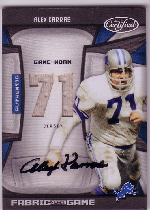 2009 Certified Fabric of the Game Jersey Number Autographs #6 Alex Karras/25