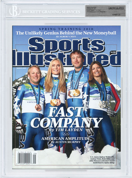 SPORTS ILLUSTRATED BGS Uncirculated LINDSEY VONN BODE MILLER 03/01/10