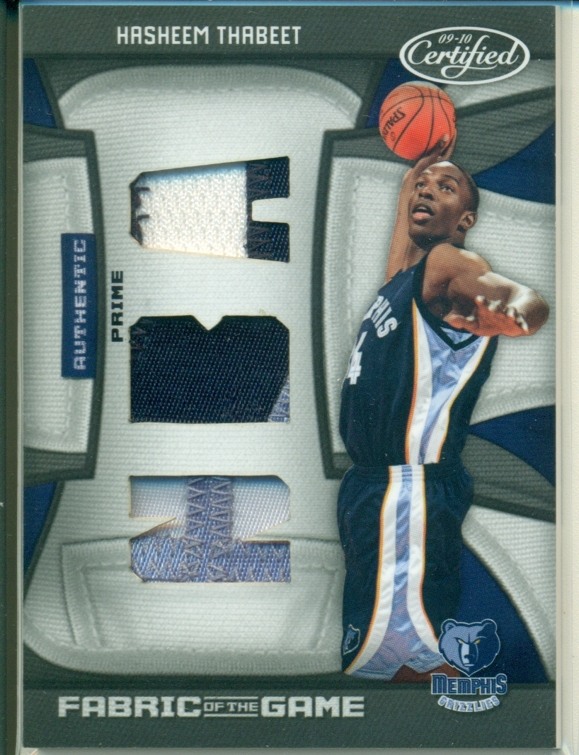 2009-10 Certified Fabric of the Game NBA Die Cuts Prime #172 Hasheem Thabeet/25