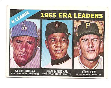 1966 Topps #221 NL ERA Leaders/Sandy Koufax/Juan Marichal/Vern Law